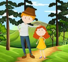 Vader en dochter lopen in een park vector