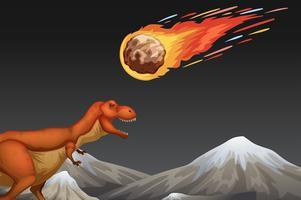 Dinosaurus en meteror die aarde verplettert