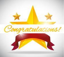 Kaartsjabloon voor felicitatie met sterren achtergrond vector