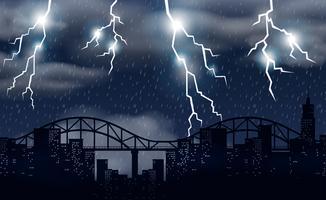 Storm en verlichting over de stad vector