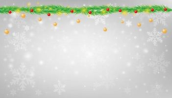 sneeuwvlok met kerstslinger achtergrond vectorillustratie vector