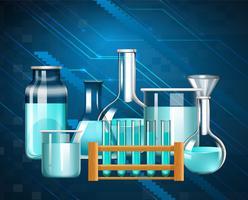 Glazen bekers en reageerbuisjes met blauwe vloeistof