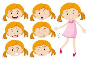 Meisje in roze jurk en verschillende emoties