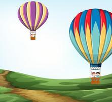 Hete luchtballon in de natuur