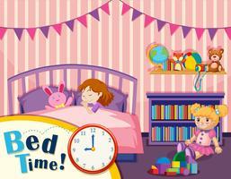 Jong meisje bedtijd vector