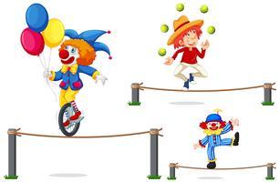 Een reeks van Circusshow op witte achtergrond