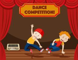 Jongens die straatdans op het podium uitvoeren