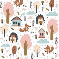 naadloos patroon met vos, egels, herfstbladeren en bomen. vecto vector