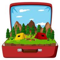 Een camping in de vintage tas
