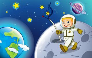 Een glimlachende astronaut in de buitenruimte