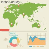 Een infographics met een kaart vector