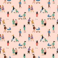 Gelukkige Moederdag. Vector naadloos patroon met vrouwen en kinderen.