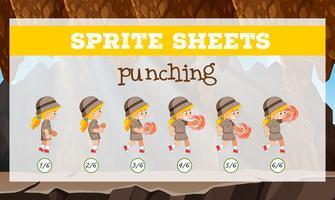 sprite sheet girl punching