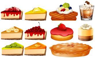 Verschillende soorten cake en taart vector