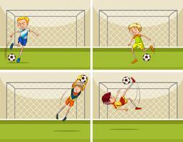 Vier voetbalscènes met doelman bij doel
