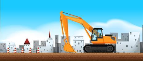 Bulldozer die bij bouwwerf werkt vector