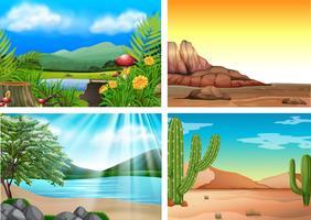 Vier verschillende landschappen en natuur vector