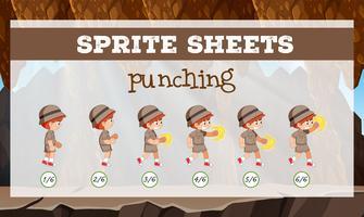 sprite sheet boy punching