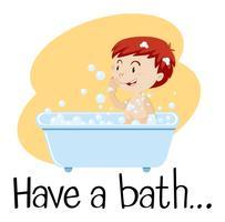 Een jongen die een bad neemt