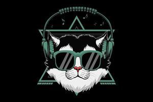 kat draagt koptelefoon afbeelding ontwerp vector