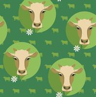Vector moderne platte ontwerp naadloze illustratie van koe.