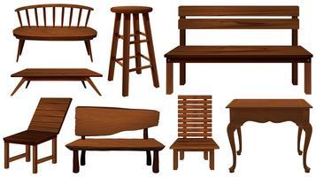 Verschillende ontwerpen van stoelen gemaakt van hout vector
