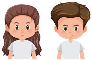 Set van brunette mannelijke en vrouwelijke personage vector