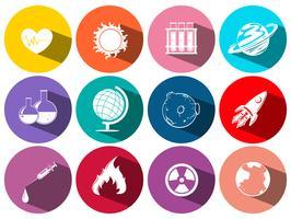 Wetenschap en technologie symbolen op ronde pictogrammen vector