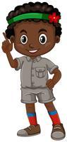 Afrikaanse Amerikaanse jongen die vinger richt