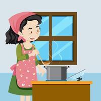 Een moeder kook soep