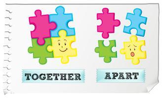 Tegenover bijvoeglijk naamwoord samen en uit elkaar