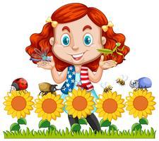 Meisje en insecten in zonnebloemtuin