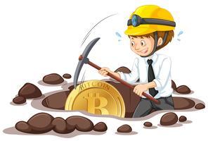 Een kantoorwerknemer die Bitcoin moordt