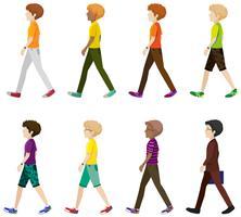 Acht jongens lopen zonder gezichten