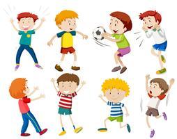 Een reeks jongensactiviteiten vector