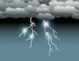Stormscène met bliksem vector