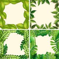 Een set groene bladrand vector