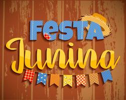 Latijns-Amerikaanse vakantie, het junifeest van Brazilië. Belettering van ontwerp op houtstructuur.
