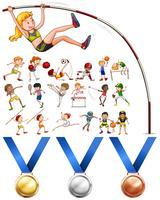Verschillende soorten sport en medailles vector