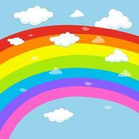 Achtergrondontwerp met regenboog in blauwe hemel