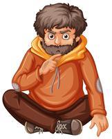 Man in oranje sweatshirt zitten