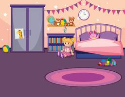 Binnenland van een meisjesslaapkamer