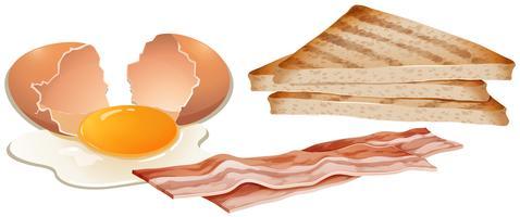 Een reeks ontbijt op witte achtergrond