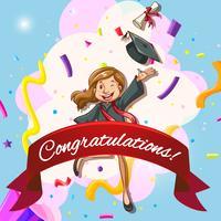 Kaartsjabloon voor felicitaties met vrouw in afstuderen jurk vector