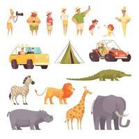 safari reizen pictogrammen instellen vectorillustratie vector