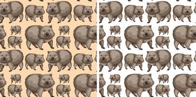 Naadloos ontwerp als achtergrond met wombats