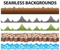Naadloze achtergronden met bergen en oceaan vector