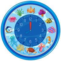 Blauwe onderwater kloksjabloon
