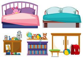 Slaapkamer objecten witte achtergrond