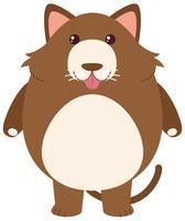Bruine kat met rond lichaam vector